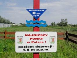 Zabytki przy noclegach - Najniższy punkt w Polsce